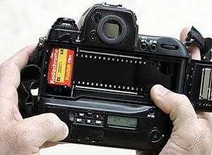 Cãmera fotográfica com filme